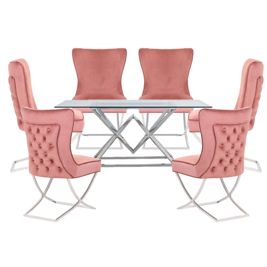 Parma Clear Glass Dining Set With 6 Pink Cavalli Chairs