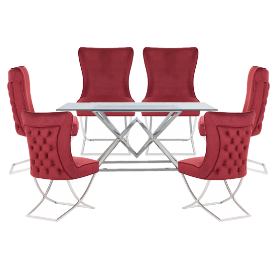 Parma Clear Glass Dining Set With 6 Red Cavalli Chairs