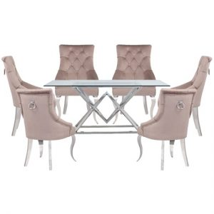 Parma Clear Glass Dining Set With 6 Taupe Angelo Chairs