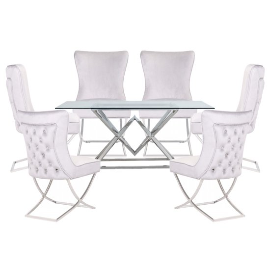 Parma Clear Glass Dining Set With 6 White Cavalli Chairs