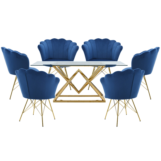 Parma Glass Dining Set In Gold Base With 6 Blue Conrad Chairs