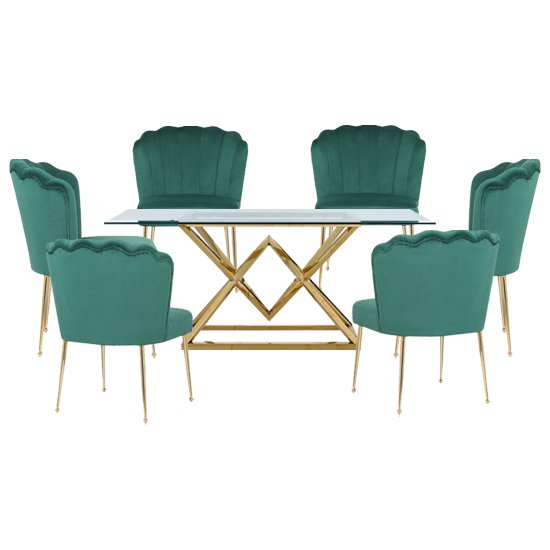 Parma Glass Dining Set In Gold Base With 6 Green Nora Chairs