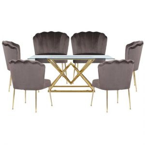 Parma Glass Dining Set In Gold Base With 6 Grey Nora Chairs