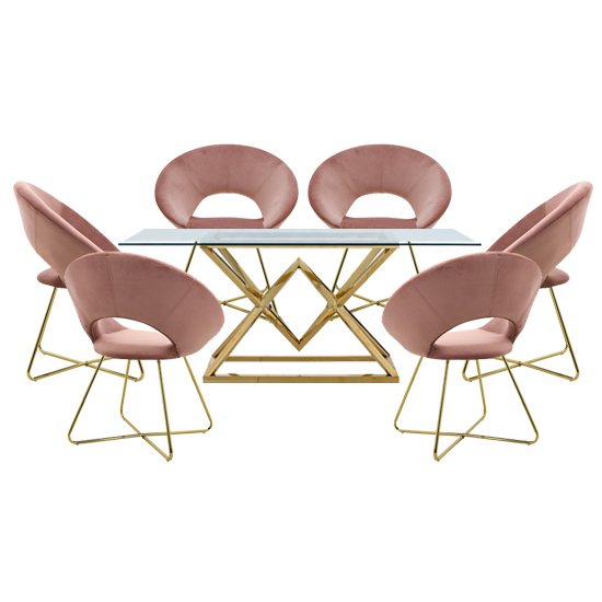 Parma Glass Dining Set In Gold Base With 6 Pink Barclay Chairs