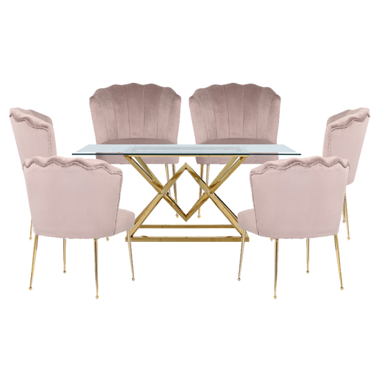 Parma Glass Dining Set In Gold Base With 6 Taupe Nora Chairs