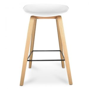Renica Counter Stool, White / Natural, Black Footrest