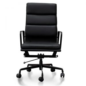 Replica Eames PU Leather Soft Pad Office Chair, High Back, Black