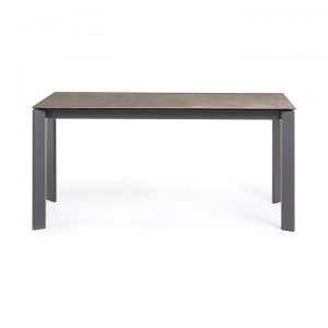 Rogen Ceramic Glass & Epoxy Steel Extendable Dining Table, 160-220cm, Vulcano Ceniza / Anthracite