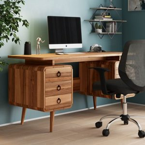 Somerset Wooden Computer Desk In Mixed Wood Effect