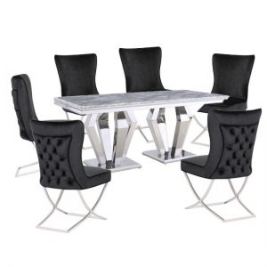 Valentino Grey Marble Dining Set With 6 Black Cavalli Chairs