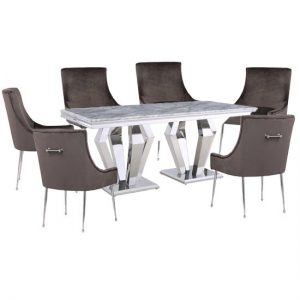 Valentino Grey Marble Dining Set With 6 Grey Jersey Chairs