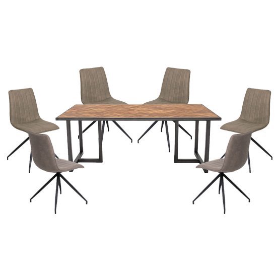 Vanya Large Dining Set In Light Brown 6 Isaac Taupe Chairs