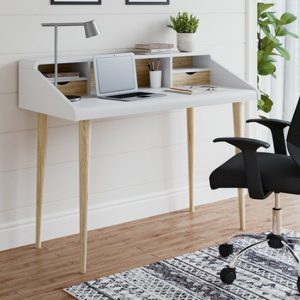 Yeovil Wooden Computer Desk In White And Oak