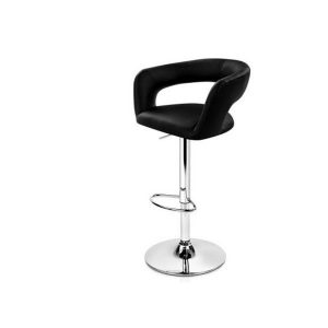 2 Gas Lift Bar Stools Swivel Chairs With Circular Backrest