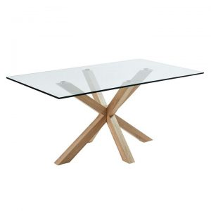 Alonzo Dining Table, Glass/Natural