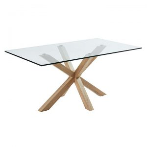 Alonzo Dining Table, Glass/Natural, Small