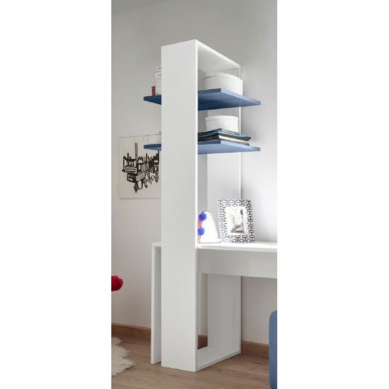 Altair Wooden Bookcase In Matt White With 2 Blue Shelves