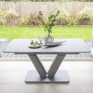 Bergen Matt Grey 160cm-200cm Drop Leaf Dining Table - Glass Extention