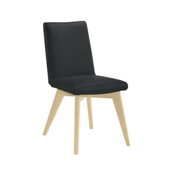 Chelsea Leather Dining Chair, Black / Natural