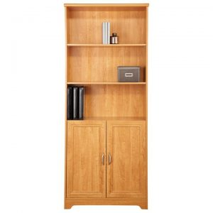 Cubic Bookcase with Doors, Honey Maple