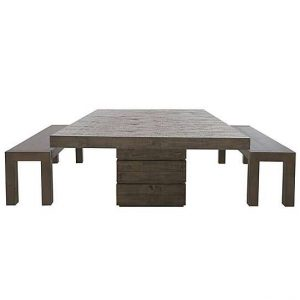 Folsom Rectangular Table and 2 Dining Benches Set - Brown