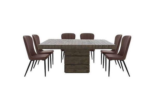 Folsom Rectangular Table and 6 Chairs Dining Set - Brown
