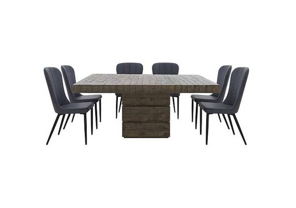 Folsom Rectangular Table and 6 Chairs Dining Set - Grey