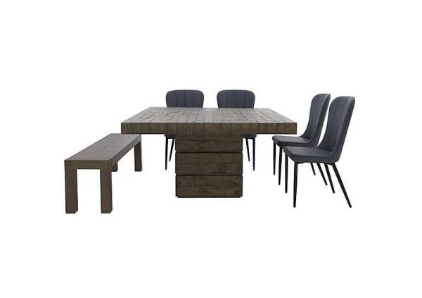 Folsom Square Dining Table, 4 Chairs and Dining Bench Set - Grey