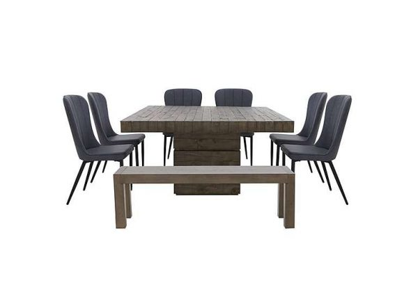 Folsom Square Dining Table, 6 Chairs and Dining Bench Set - Grey