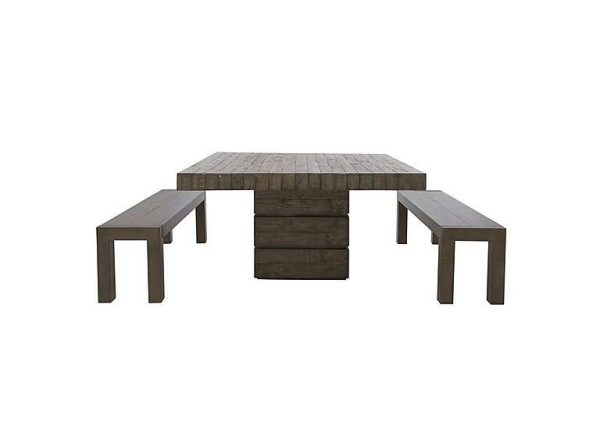 Folsom Square Dining Table and 2 Dining Benches Set - Brown