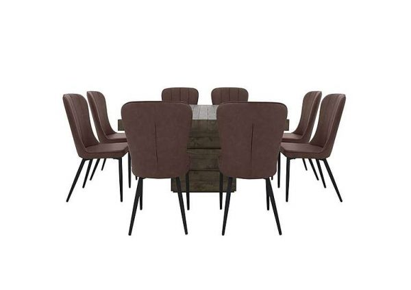 Folsom Square Dining Table and 8 Chairs Dining Set - Brown