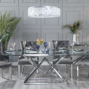 Helm Glass and Stainless Steel Chrome 200cm Dining Table with 4 Ellie Grey Velvet Knockerback Chairs and Get 2 Extra Chairs Worth £398 For FREE