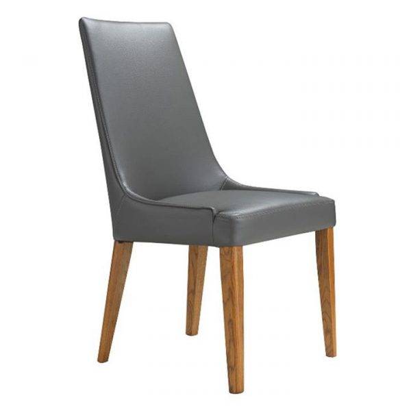 Kingstone Leather Dining Chair, Grey / Wheat