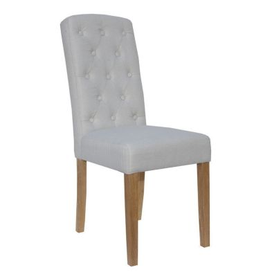 Lancelot Upholstered Button Back Dining Chair Natural