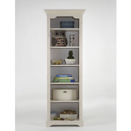 Lotta Wooden Bookcase In White Wash With 5 Shelves