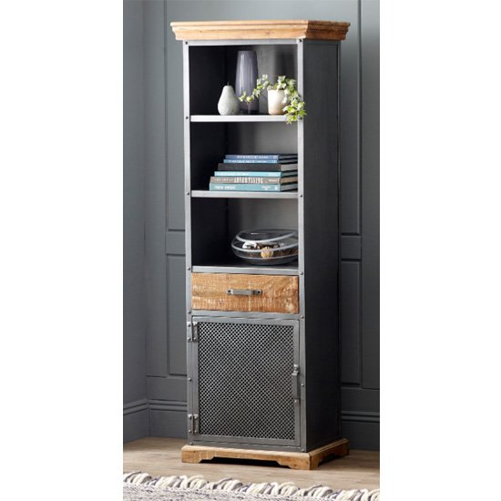 Metapoly Industrial Bookcase In Acacia With 1 Door 1 Drawer