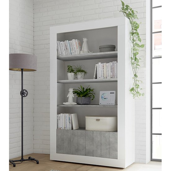 Nitro 2 Doors 3 Shelves Bookcase In White Gloss And Cement