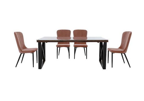 Noir Dining Table with X-Shaped Legs with 4 Chairs Dining Set - 220-cm