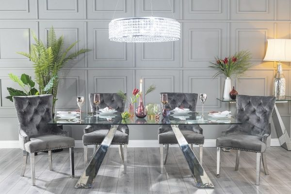 Oriel Glass and Stainless Steel Chrome Dining Table with 4 Ellie Grey Velvet Knockerback Chairs and Get 2 Extra Chairs Worth £398 For FREE