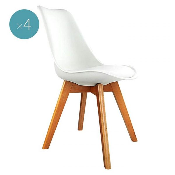 Replica Charles & Ray Eames PU Leather Dining Chair, White (Set of 4)