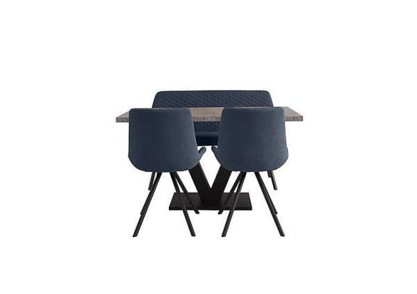 Rocket Dining Table, 2 Chairs and High Back Bench Dining Set