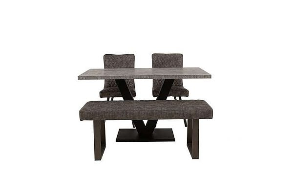 Rocket Dining Table, 2 Earth Chairs and Compact Earth Low Bench Dining Set
