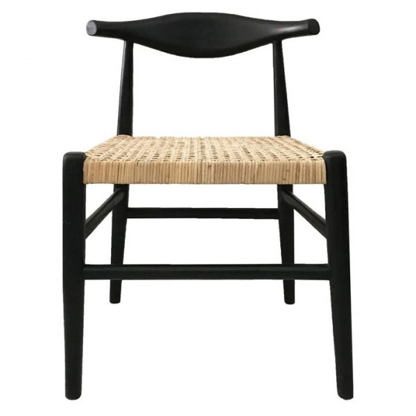 Sorren Teak Dining Chair, Rattan Seat, Black