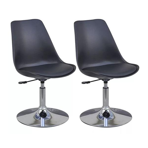 Swivel Dining Chairs Black Faux Leather
