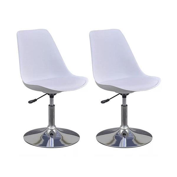 Swivel Dining Chairs White Faux Leather