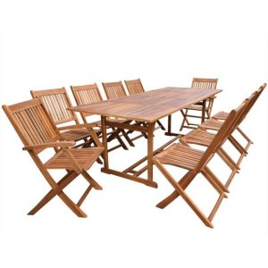 11 Piece Outdoor Dining Set Solid Acacia Wood | Afterpay | zip |