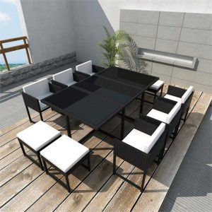 11 Piece Outdoor Dining Set with Cushions Poly Rattan Black | Afterpay