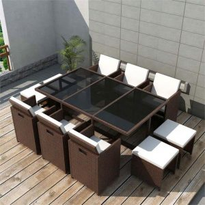11 Piece Outdoor Dining Set with Cushions Poly Rattan Brown | Afterpay