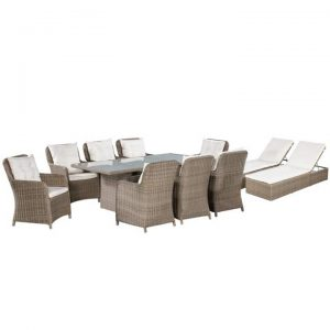 11 Piece Outdoor Dining Set with Sunloungers Poly Rattan Brown |