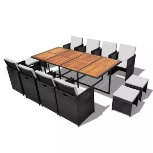 13 Piece Outdoor Dining Set Poly Rattan and Acacia Wood Black |